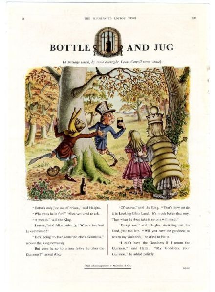 1948 GUINNESS  Vintage Advert ALICE  THROUGH THE LOOKING GLASS Hatta Haigha GROVES RAINES Print